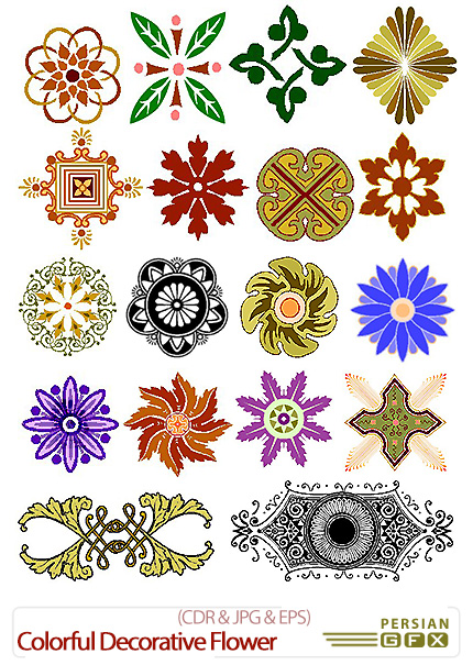 دانلود تصاویر کورل گل های تزئینی رنگارنگ - Colorful Decorative Flower