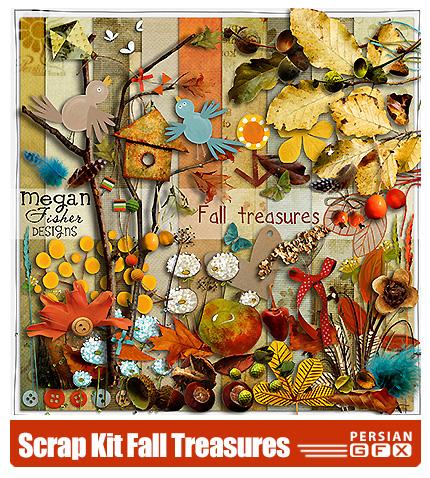 دانلود کلیپ آرت فریم، عناصر طراحی، برگ پاییزی، گل، پروانه - Scrap Kit Fall Treasures