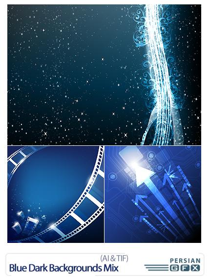 دانلود تصاویر وکتور پس زمینه های مشکی و آبی - Blue Dark Backgrounds Mix