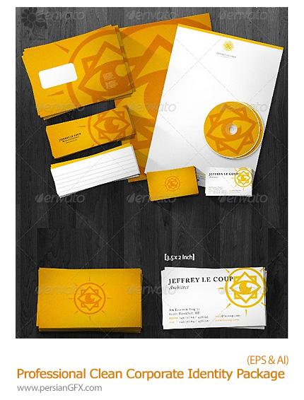 دانلود تصاویر وکتور ست اداری زرد رنگ از گرافیک ریور - GraphicRiver Professional Clean Corporate Identity Package