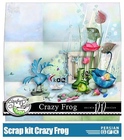 دانلود کلیپ آرت عناصر تزئینی، قورباغه، پرنده، گل - Scrap kit Crazy Frog