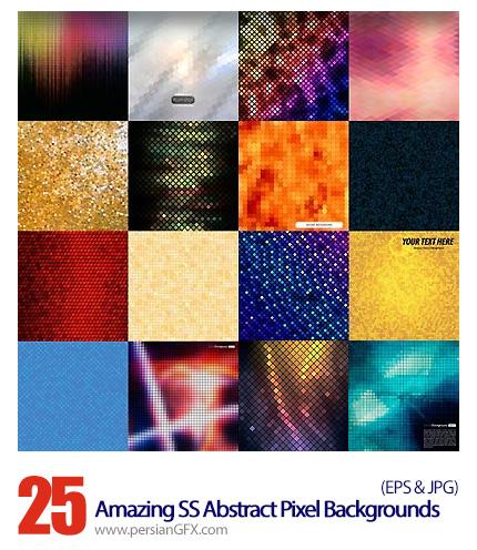 دانلود تصاویر وکتور تکسچر پس زمینه پیکسلی از شاتر استوک  - Amazing ShutterStock Abstract Pixel Backgrounds