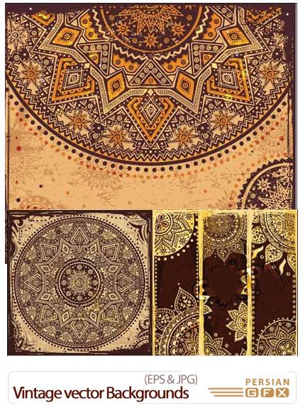 دانلود تصاویر وکتور پس زمینه های تزئینی، ترنج، نقش اسلیمی - Vintage vector Backgrounds With Ornaments