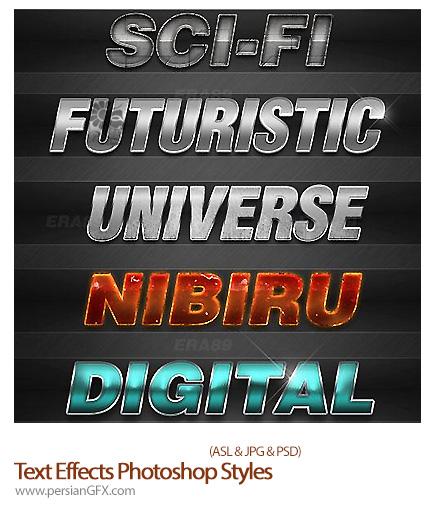 مجموعه استایل با افکت های متنوع - 5 Sci Fi Text Effects Photoshop Styles