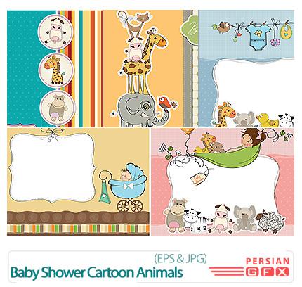 دانلود تصاویر وکتور فریم فانتزی حیوانات کارتونی - Baby Shower Cartoon Animals Vector