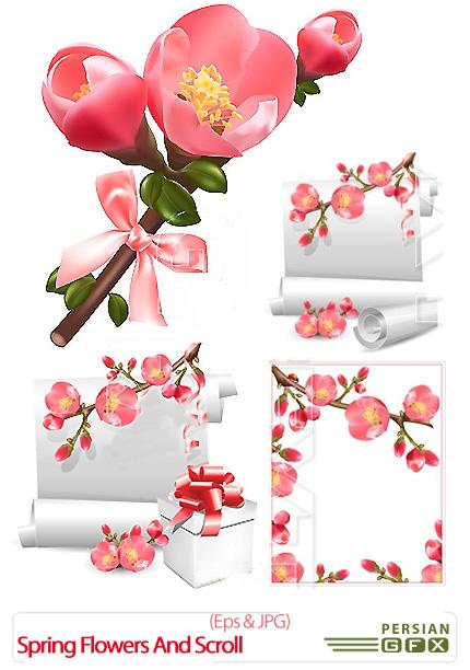 دانلود تصاویر وکتور گل های بهاری - Vector Stock Spring Flowers And Scroll