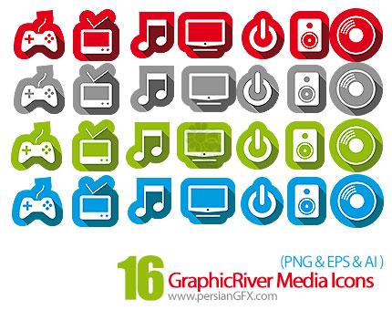 دانلود تصاویر آیکون های متنوع چندرسانه ای با چهار رنگ از گرافیک ریور - GraphicRiver 16 Media Icons