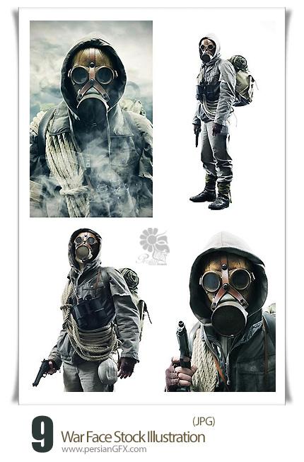 دانلود تصاویر با کیفیت جنگ - War Face Stock Illustration
