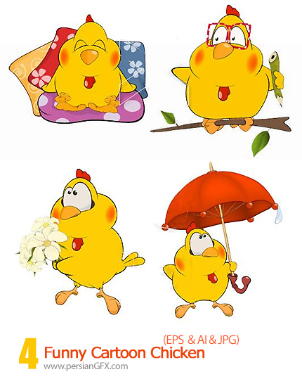 دانلود تصاویر وکتور کاریکاتورهای خنده دار مرغ - Funny Cartoon Chicken