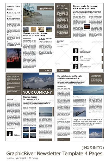 دانلود تصاویر قالب های آماده ایندیزاین روزنامه از گرافیک ریور - GraphicRiver Newsletter Template 4 Pages