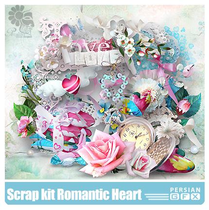 دانلود کلیپ آرت رومانتیک، عناصر طراحی، قلب، گل، روبان - Scrap kit Romantic Heart