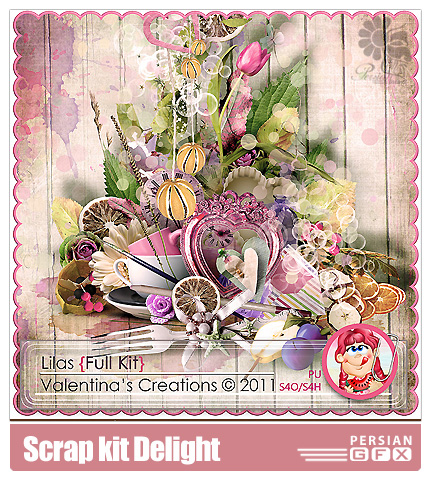 دانلود کلیپ آرت تزئینی، عناصر طراحی، برگ گل، گل، گنجشک - Scrap kit Lilas