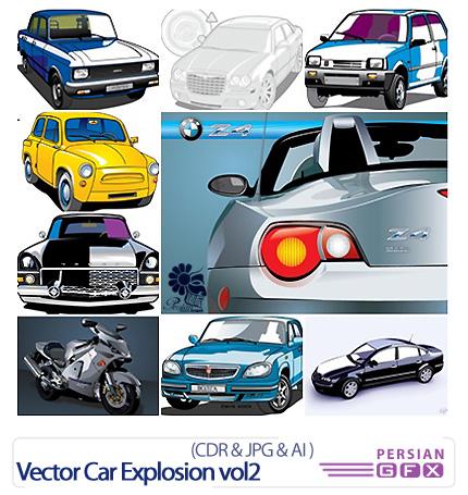 دانلود تصاویر کورل ماشین و موتور - Vector Car Explosion vol2