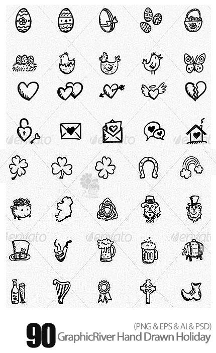 دانلود تصاویر آیکون های نقاشی شده دستی تعطیلات از گرافیک ریور - GraphicRiver 90 Hand Drawn Holiday Icons