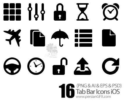 دانلود تصاویر آیکون های متنوع کامپیوتر مناسب برای برنامه نویسان - Tab Bar Icons iOS