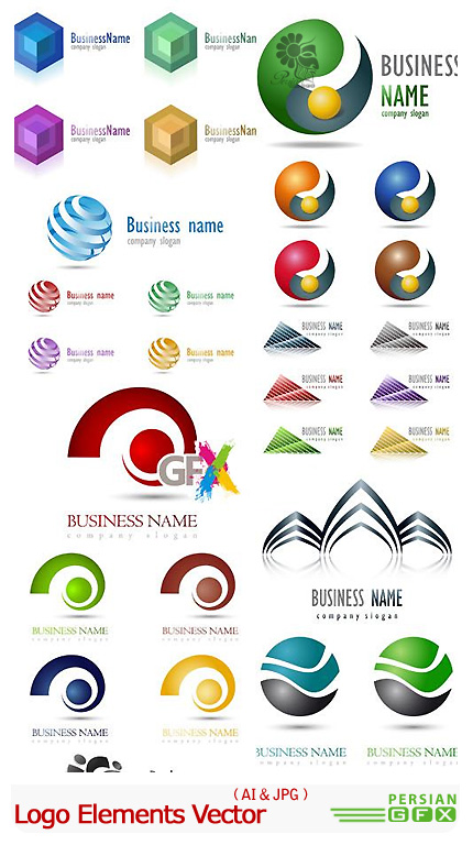 دانلود تصاویر وکتور لوگوهای هندسی - Logo Elements Vector