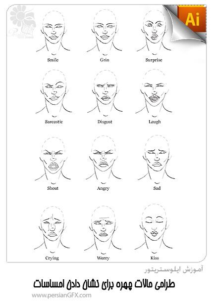 آموزش ایلوستریتور - طراحی حالات چهره برای نشان دادن احساسات