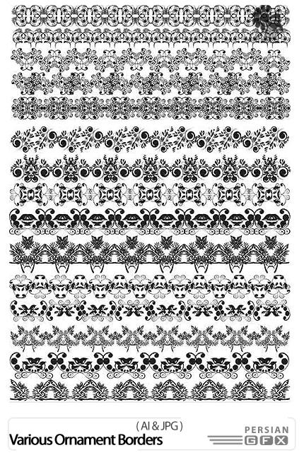 دانلود تصاویر وکتور حاشیه های تزئینی - Various Ornament Borders