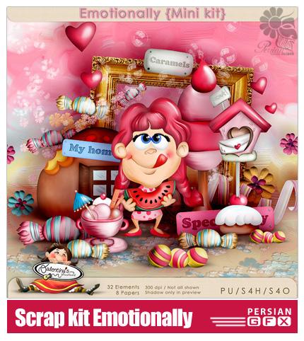 دانلود تصاویرکلیپ آرت رمانتیک و فانتزی، عروسک، گل، شکلات - Scrap kit Emotionally