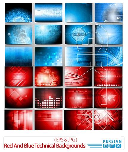 دانلود تصاویر وکتور پس زمینه های فنی قرمز و آبی - Red And Blue Technical Backgrounds