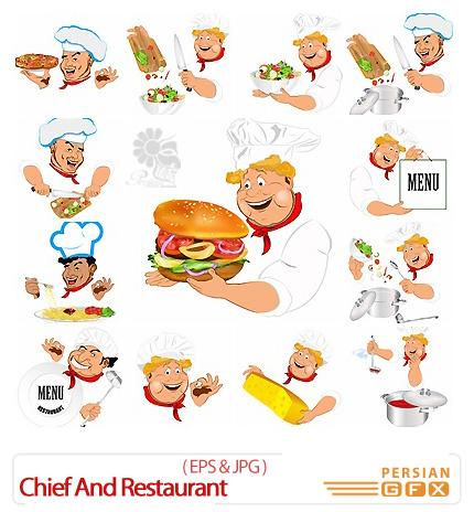 دانلود تصاویر وکتور آشپز و رستوران، منوی غذا، غذا - Chief And Restaurant