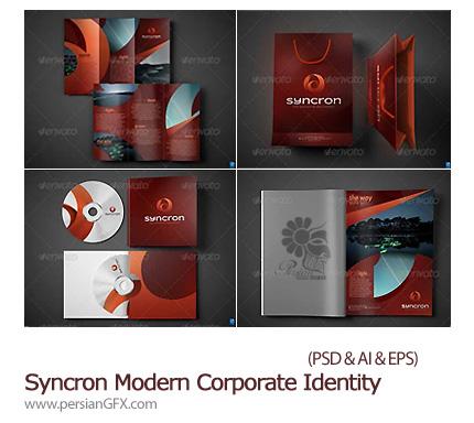 دانلود تصاویر لایه باز ست اداری، ساک دستی، بروشور، خودکار، لیوان، سربرگ، سی دی، پاکت نامه، کارت ویزیت از گرافیک ریور - Graphicriver Syncron Modern Corporate Id