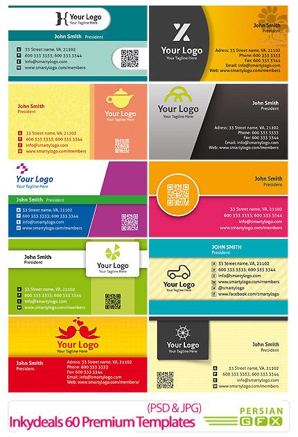 دانلود تصاویر لایه باز قالب های آماده کارت ویزیت های فانتزی - Inkydeals 60 Premium Business Card Templates