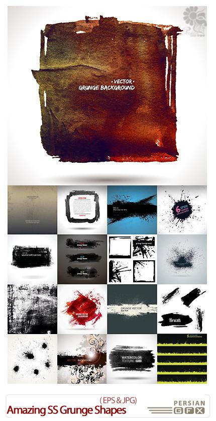 دانلود تصاویر وکتور پس زمینه گرانج، کثیف و کهنه اشکال متنوع از شاتر استوک