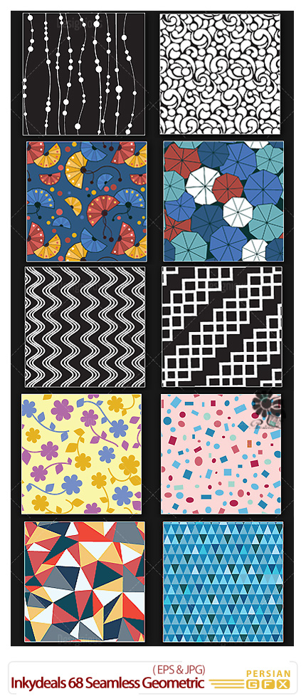 دانلود تصاویر وکتور الگوهای پترن هندسی - Inkydeals 68 Seamless Geometric Patterns