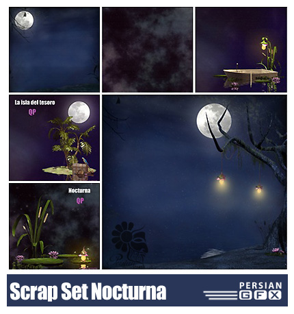 دانلود کلیپ آرت منظره شب، برکه، عناصر طراحی، تکسچر، کرم شب تاب - Scrap Set Nocturna PNG And JPG Files