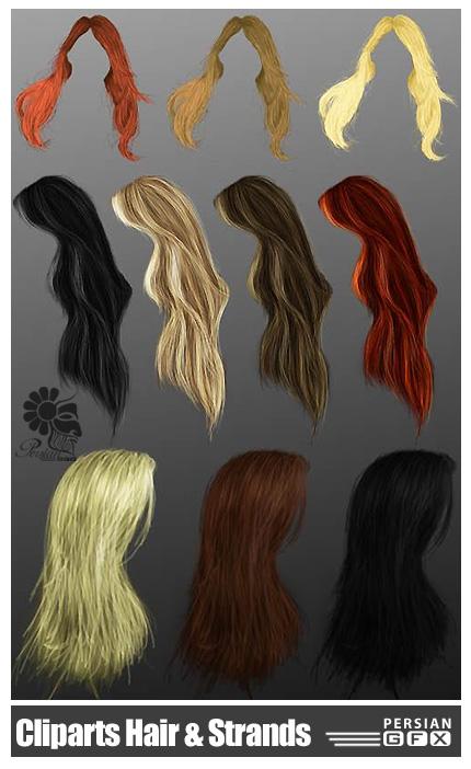 دانلود وکتور مو، لخت، رنگ شده، صاف - PNG Cliparts Hair And Strands
