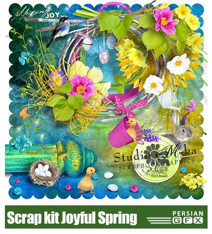 دانلود تصاویر کلیپ آرت گل، فریم و تکسچرهای رنگارنگ - Scrap kit Joyful Spring