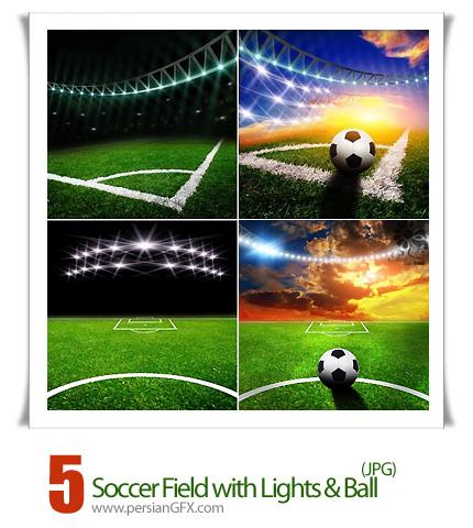 دانلود تصاویر با کیفیت زمین فوتبال با چراغ و توپ - Soccer Field