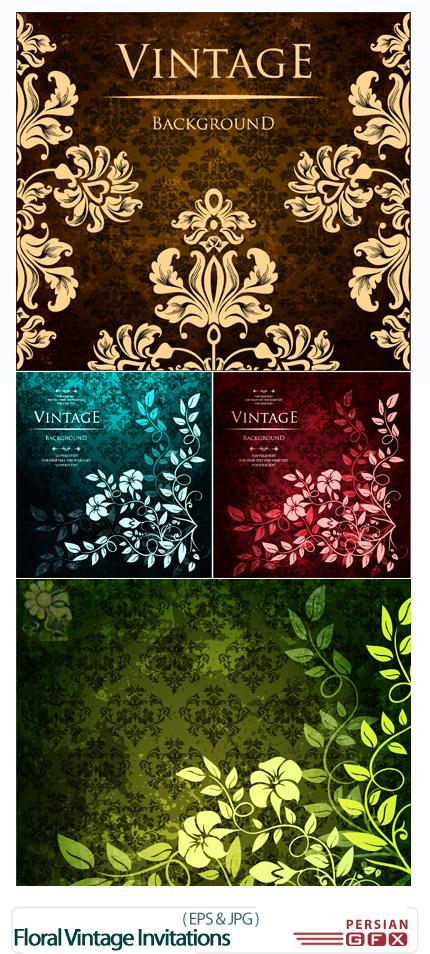 دانلود تصاویر وکتور کارت های دعوت گلدار - Floral vintage invitations