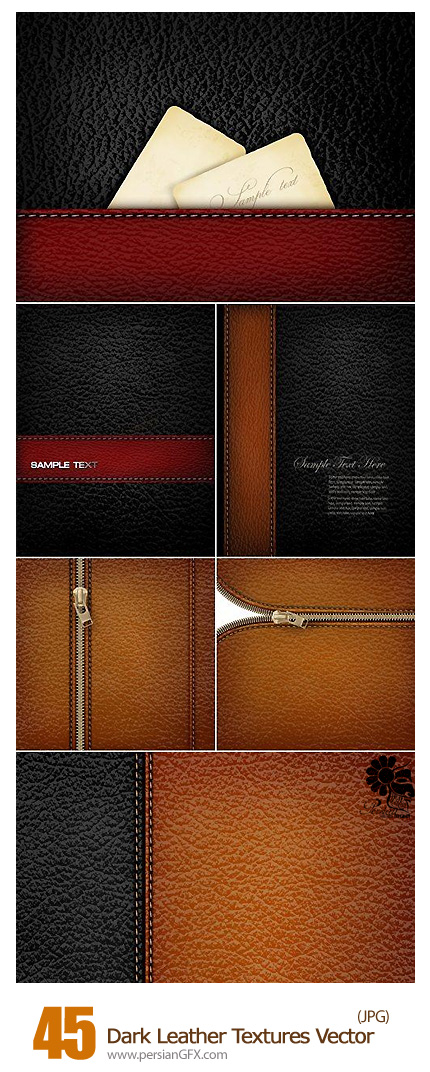دانلود تصاویر وکتور تکسچر چرم تیره - Dark Leather Textures Vector