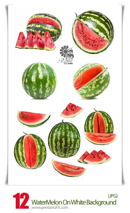 دانلود تصاویر با کیفیت هندوانه در پس زمینه سفید - WaterMelon On White Background Stock photo