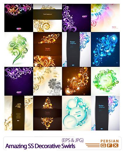 دانلود تصاویر وکتور بنرهای تزئینی گلدار از شاتر استوک - Amazing Shutter Stock Decorative Swirls