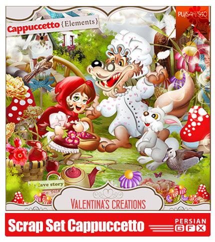 دانلود کلیپ آرت کارتونی، شنل قرمزی، گرگ، خرگوش، تکسچر - Scrap Set Cappuccetto PNG And JPG