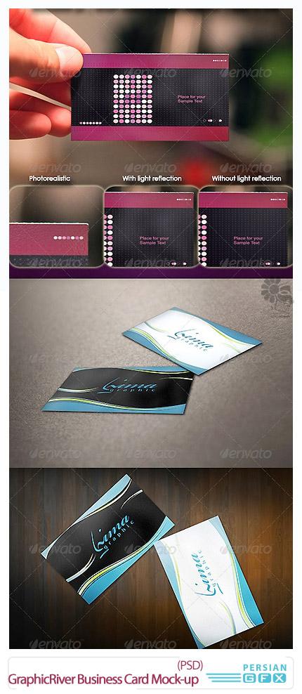 دانلود تصاویر لایه باز قالب پیش نمایش کارت ویزیت های دستی از گرافیک ریور - GraphicRiver 6 Business Card Mock-up