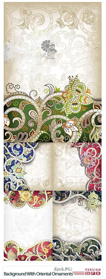 دانلود تصاویر وکتور پس زمینه با طراحی شرقی - Background with Oriental Ornaments