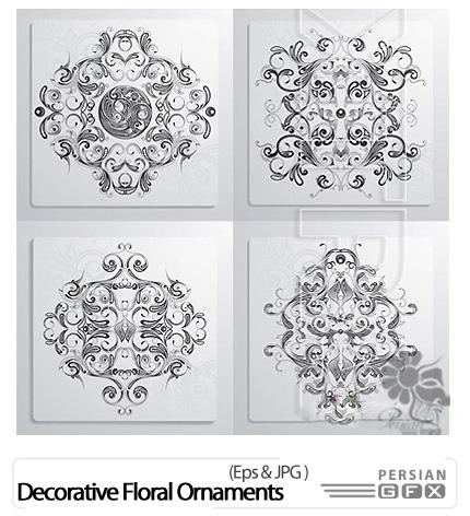 دانلود تصاویر وکتور تزئینی گلدار - Decorative Floral Ornaments