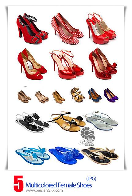 دانلود تصاویر با کیفیت کفش های زنانه رنگارنگ - Multicolored female shoes