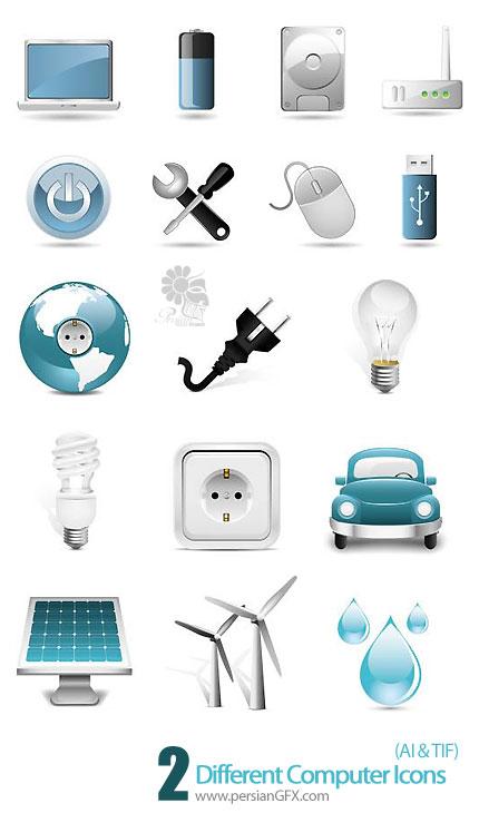 دانلود تصاویر وکتور آیکون های متنوع - Different Computer Icons