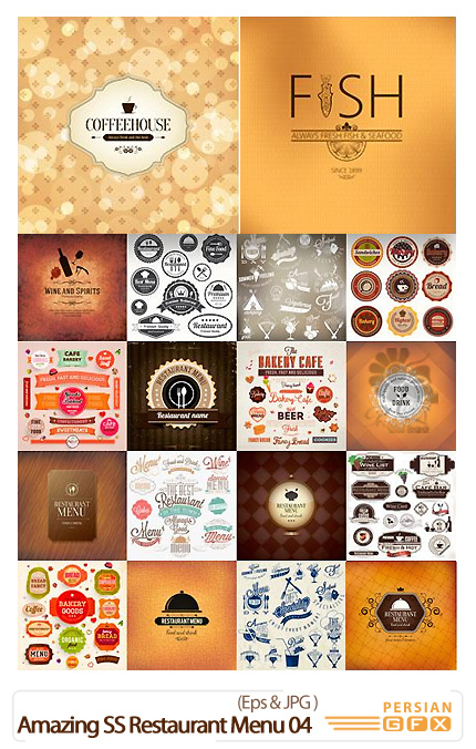 دانلود تصاویر وکتور منوهای متنوع رستوران از شاتر استوک - Amazing Shutter Stock Restaurant Menu 04