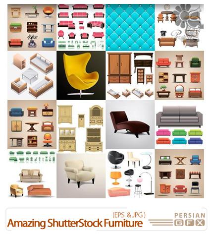 دانلود تصاویر وکتور لوازم خانگی، مبلمان، کمد، صندلی از شاتر استوک - Amazing ShutterStock Furniture