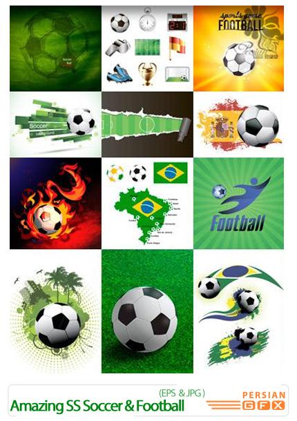 دانلود تصاویر وکتور فوتبال، توپ فوتبال، زمین چمن، تور از شاتر استوک - Amazing ShutterStock Soccer & Football