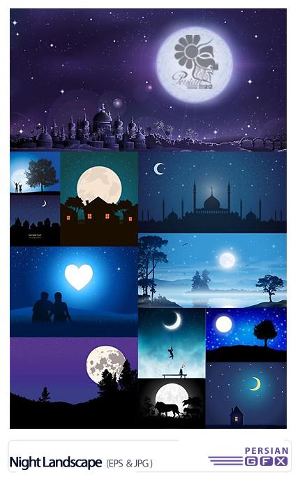 دانلود تصاویر وکتور رمانتیک و عاشقانه مناظر شب و ماه - Night Landscape