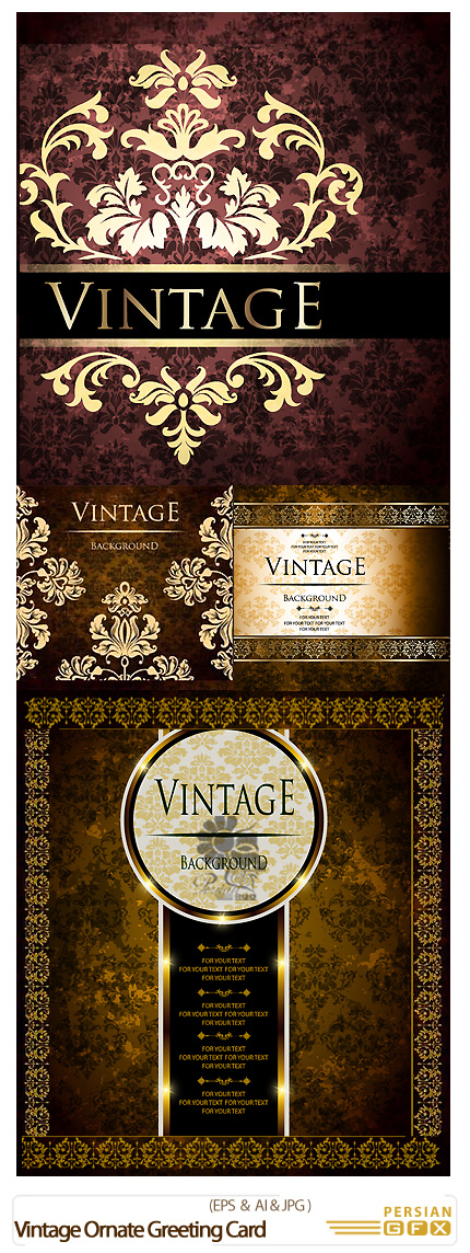 دانلود تصاویر وکتور کارت پستال های تزئینی - Vintage Ornate Greeting Card