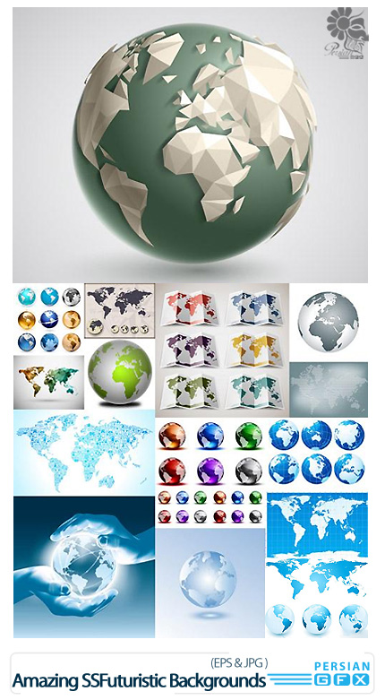PersianGFX - کره زمیندانلود تصاویر وکتور کره زمین و نقشه جهان - Globe And Map
