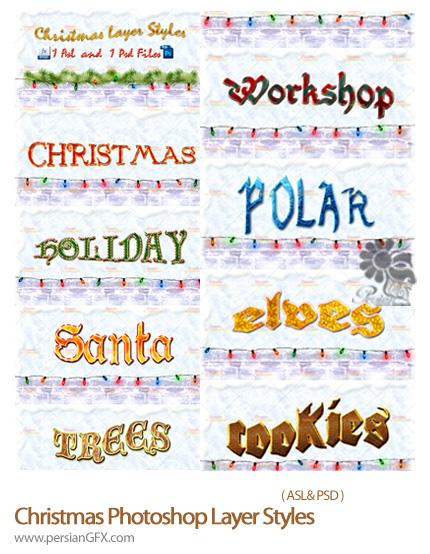 دانلود تصاویر لایه باز استایل کریسمس - Christmas Photoshop Layer Styles